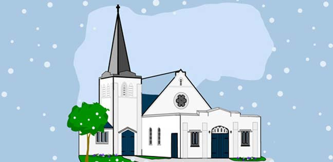 Snowfall at the Church (Printable Card for Kids)