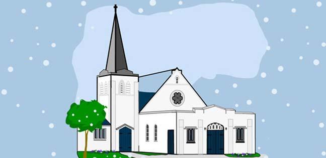 Snowfall at the Church (Printable Card for Kids)