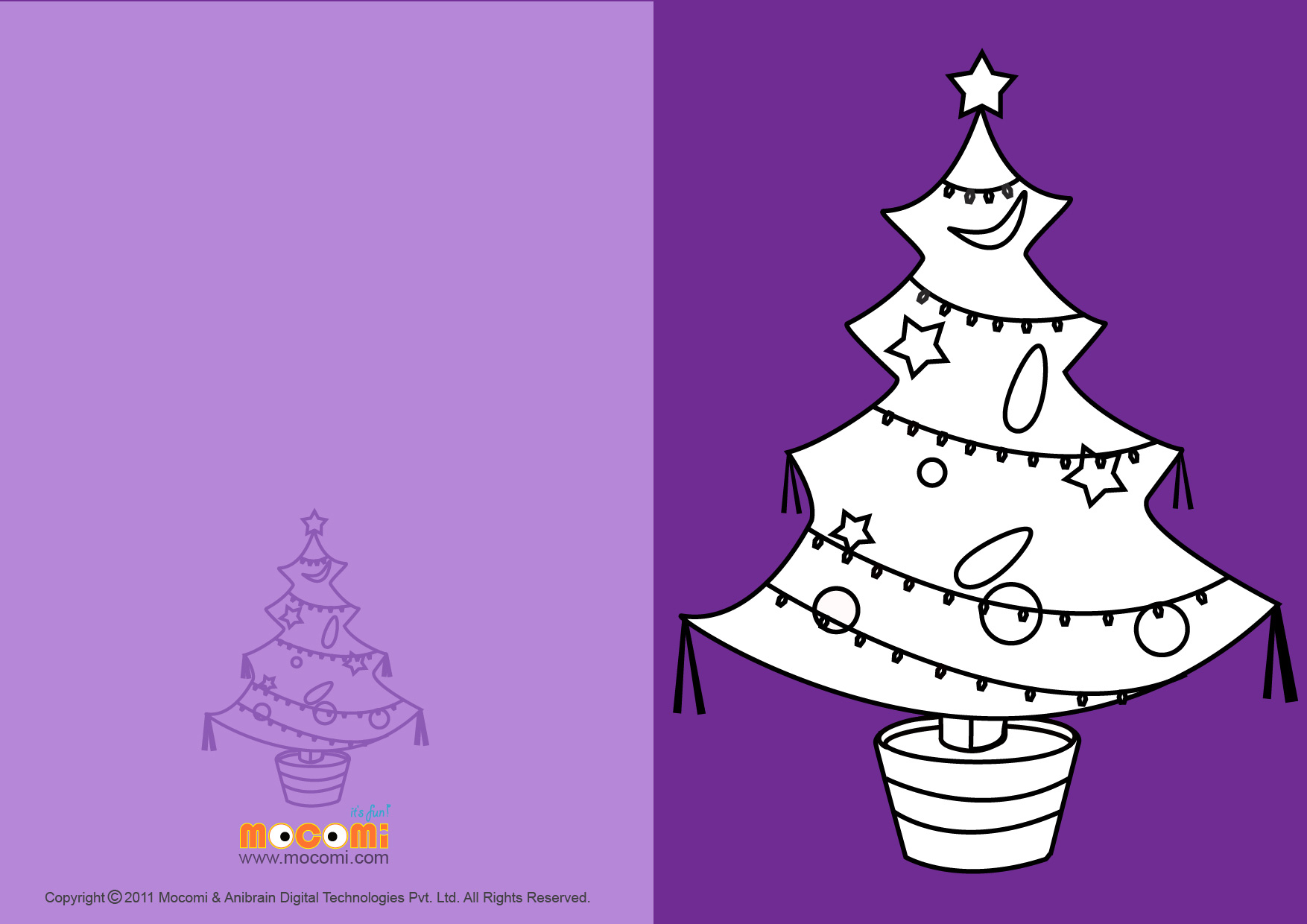 Tree With Decorations (Printable Card for Kids)