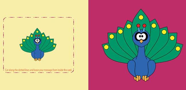 Peacock (Printable Card for Kids)