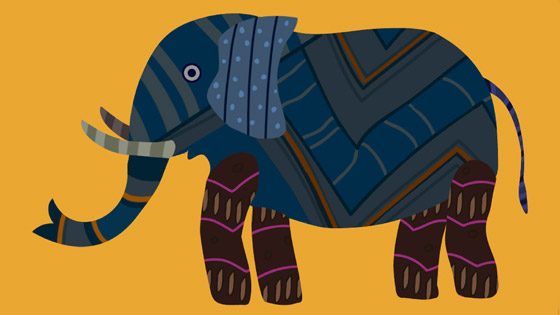 Yellow Gond Elephant