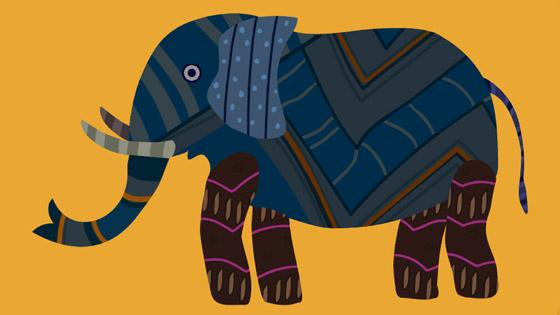 Yellow Gond Elephant