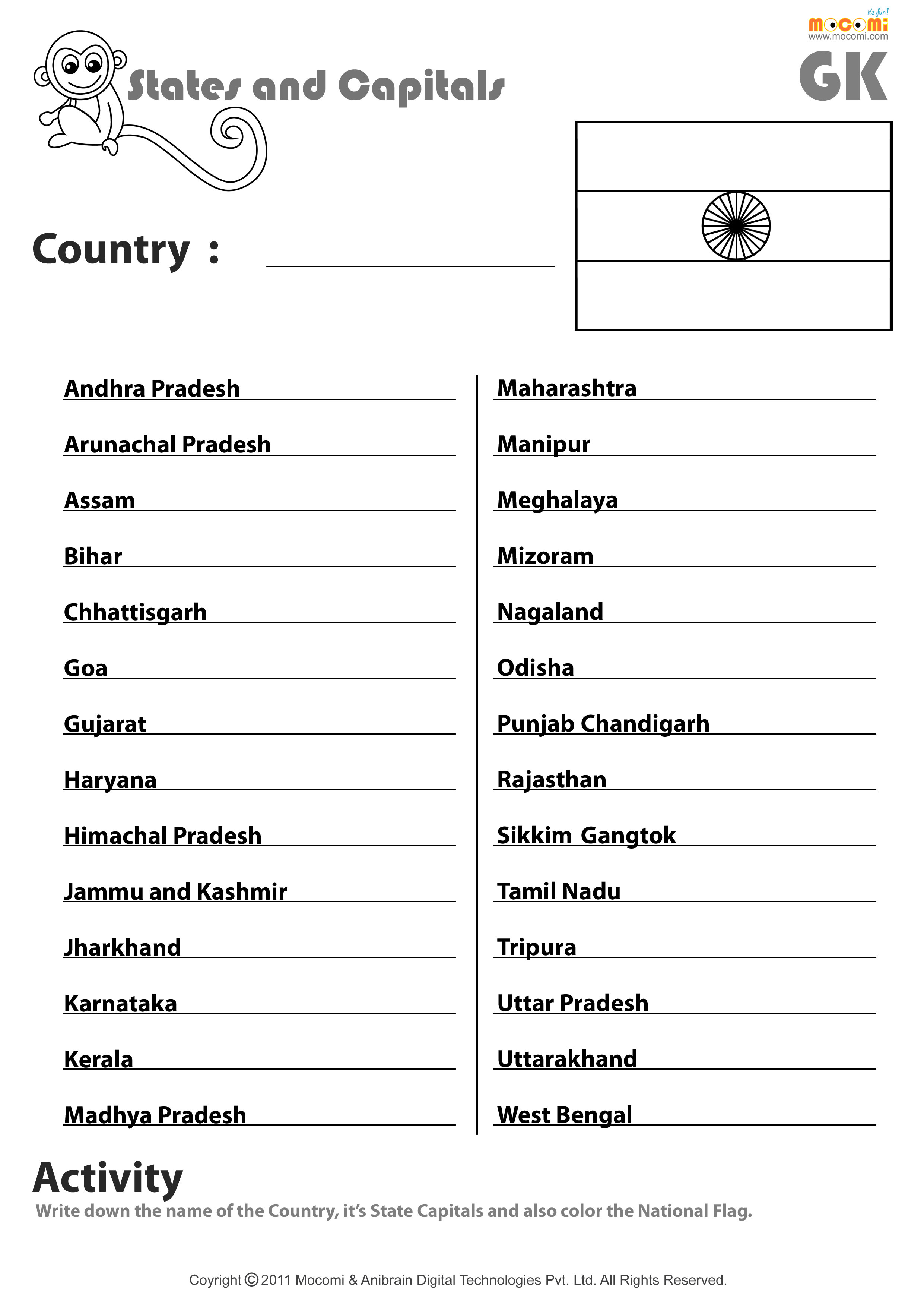 Indian State And Their Capitals Worksheet