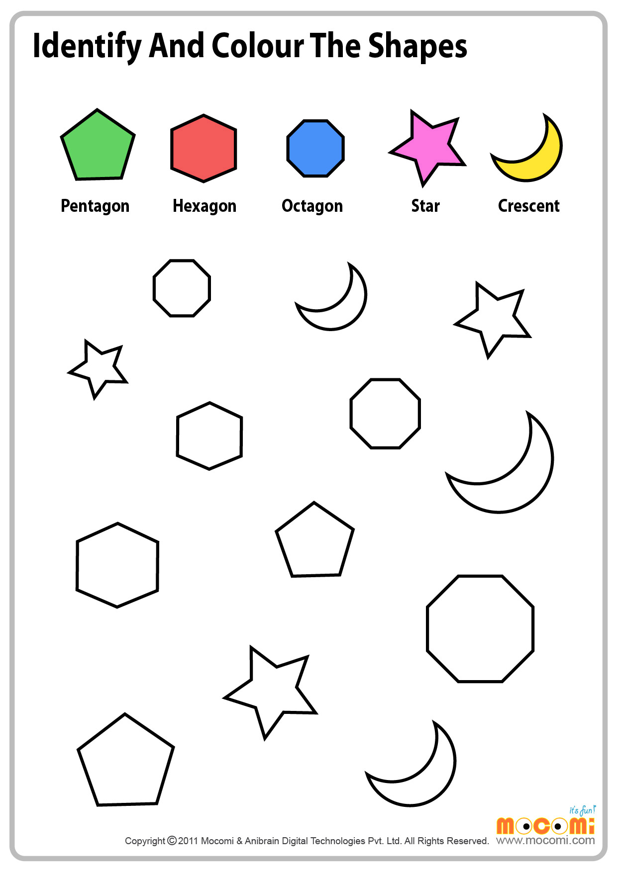 Coloring shapes worksheet - Colour Similar Shapes