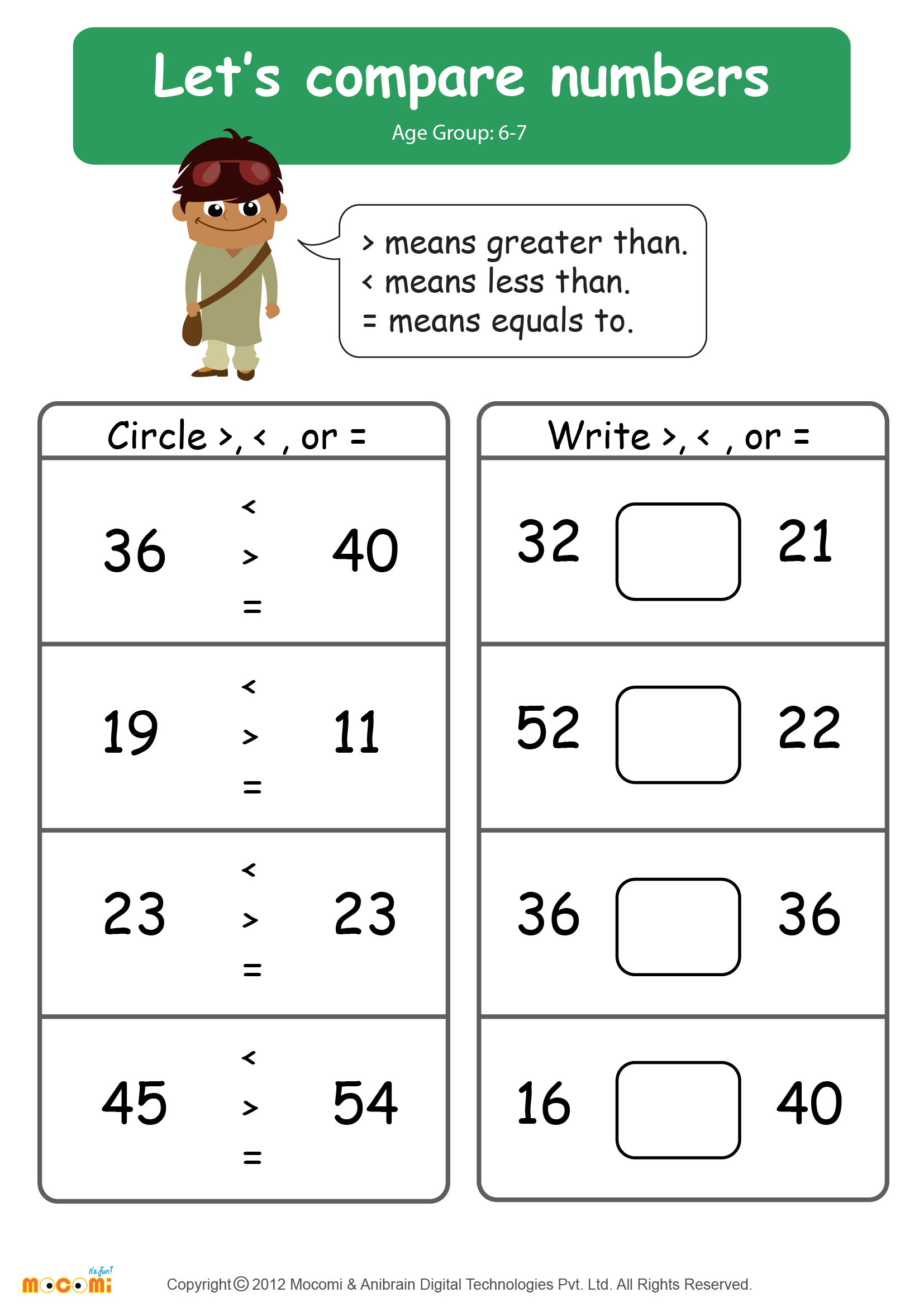 Compare Numbers Worksheet Math for Kids – Compare Numbers Worksheet