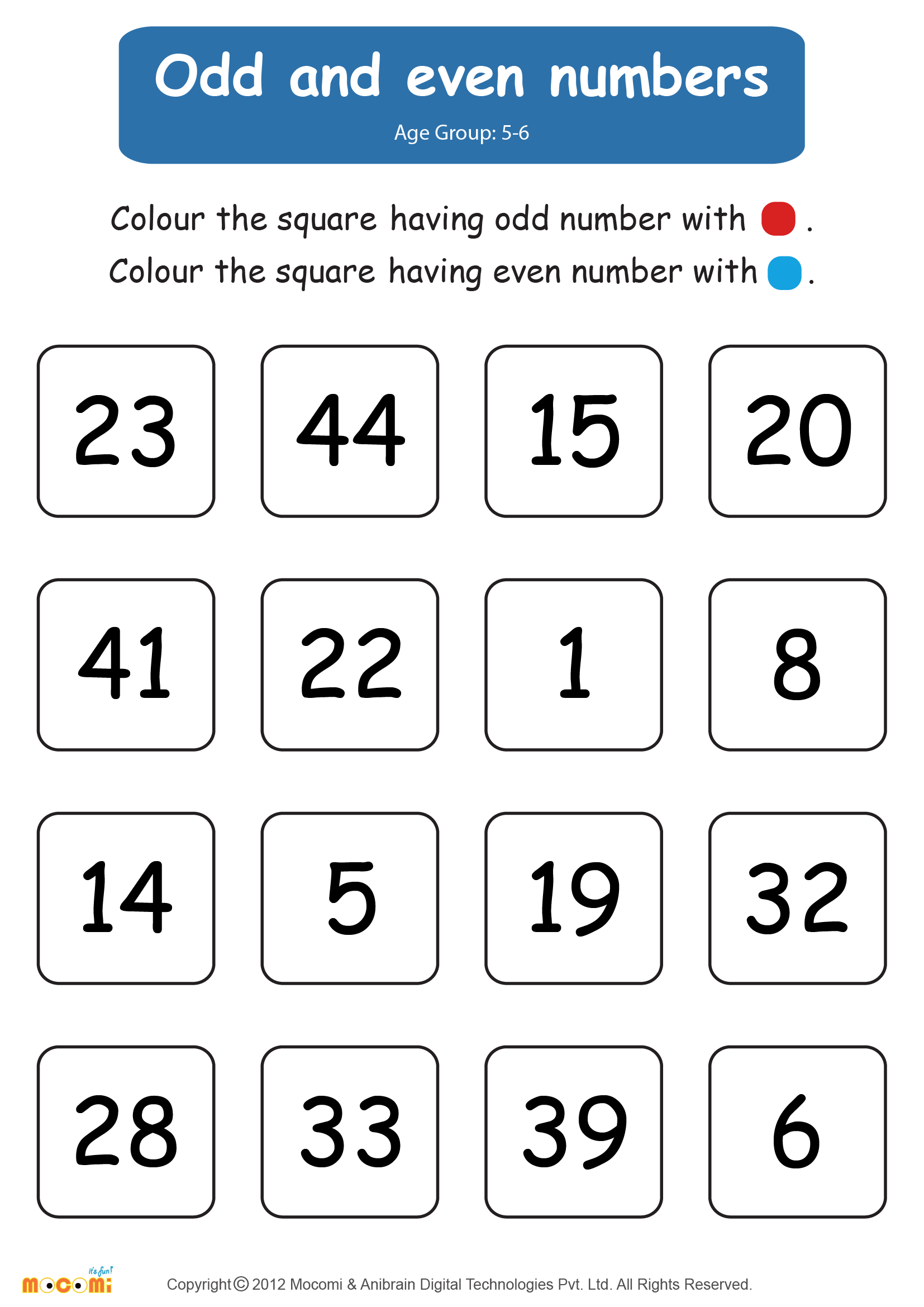 Odd and Even Numbers Worksheet