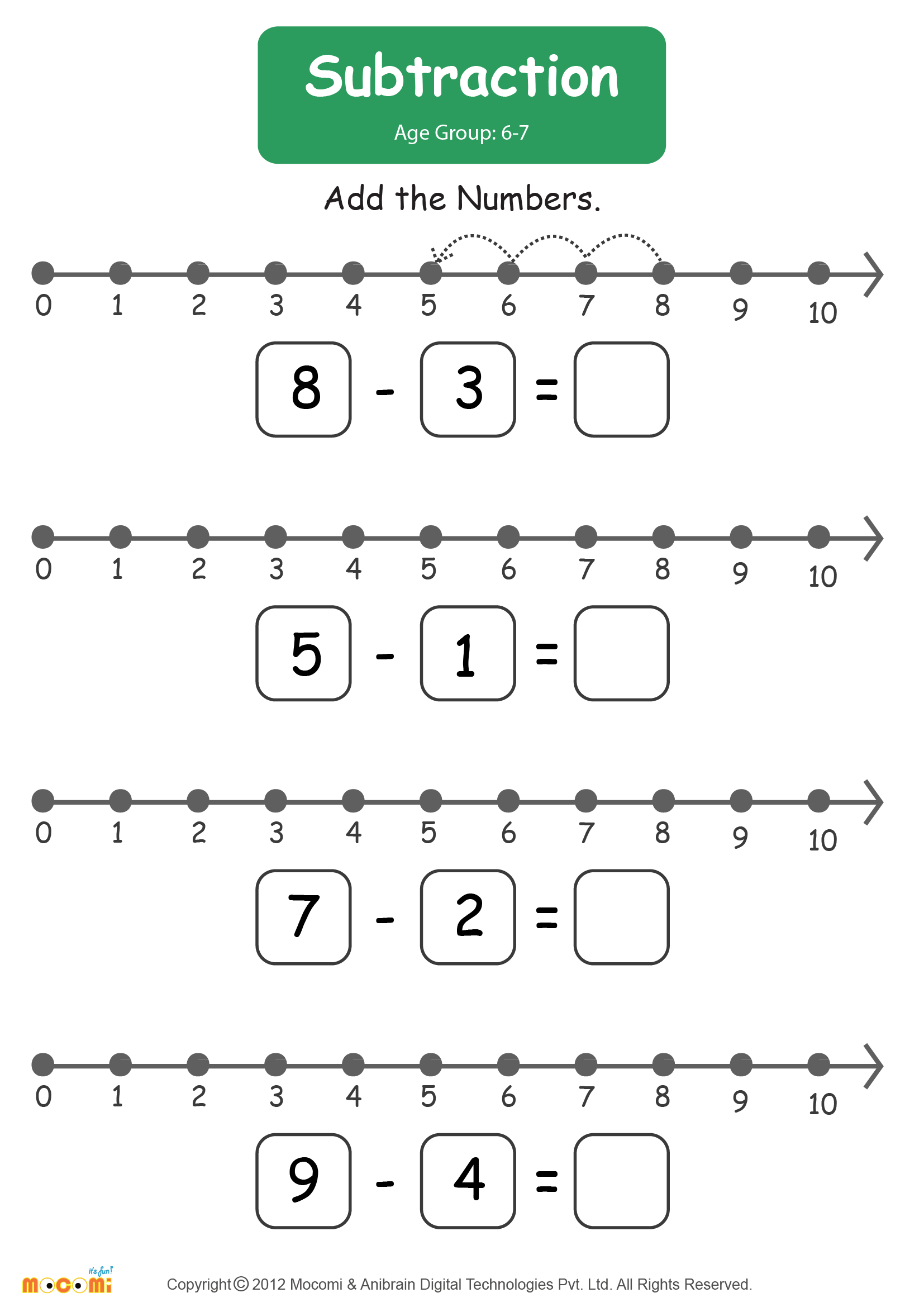 Subtraction Worksheet #01 - Math for Kids | Mocomi