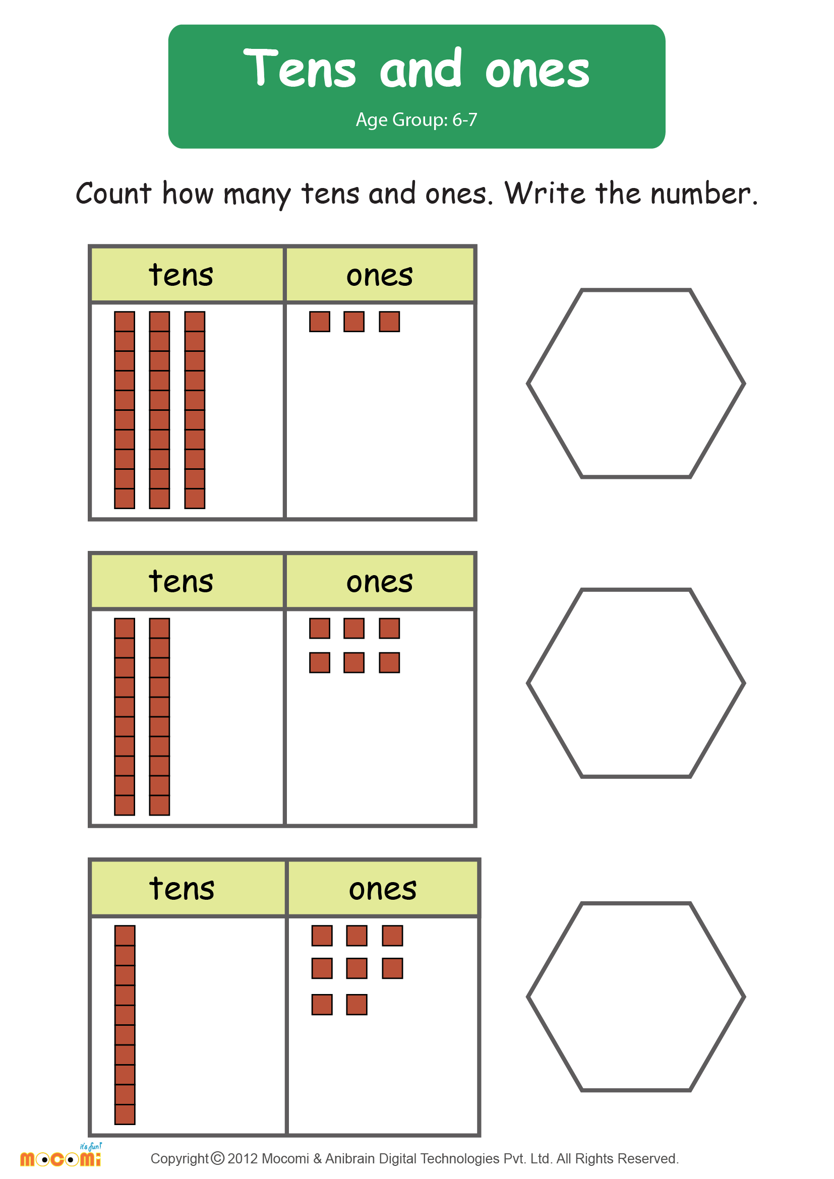 Tens and Ones Worksheet Math for Kids – Ones and Tens Worksheets