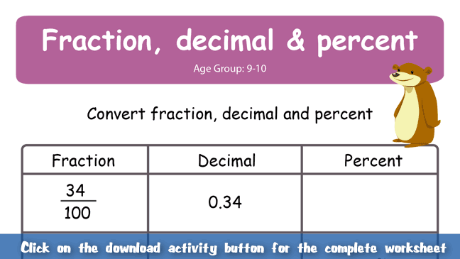 Number Names Worksheets decimal to fractions worksheet Free – Fraction to Percent Worksheet