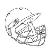 Cricket Helmet - Colouring Page