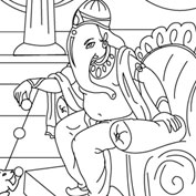 Ganesh with Rat – Colouring Page