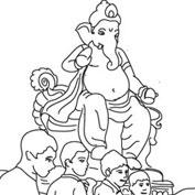 Ganesh Visarjan – Colouring Page