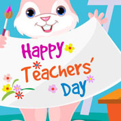 "The Rabbit wishes ""Happy Teachers' Day!"" (Printable Card for Kids)"