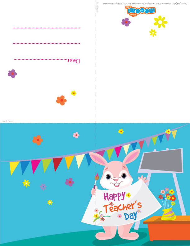 """The Rabbit wishes """"Happy Teachers' Day!"""" (Printable Card for Kids)"""