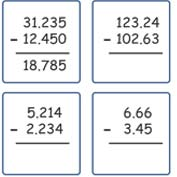 Subtracting Decimals Worksheet