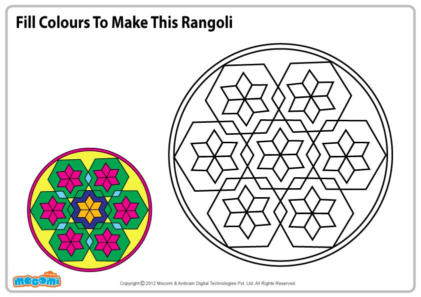 Rangoli Design – Colouring Page