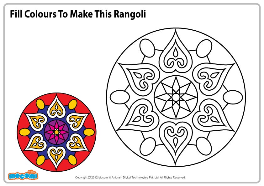 Design For Rangoli Colouring Pages Kids Mocomi