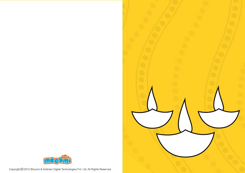 DIY Diwali lamps (Printable Card for Kids)