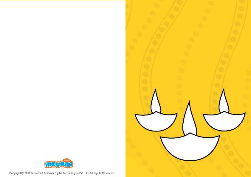DIY Diwali lamps (Printable Card for Kids)