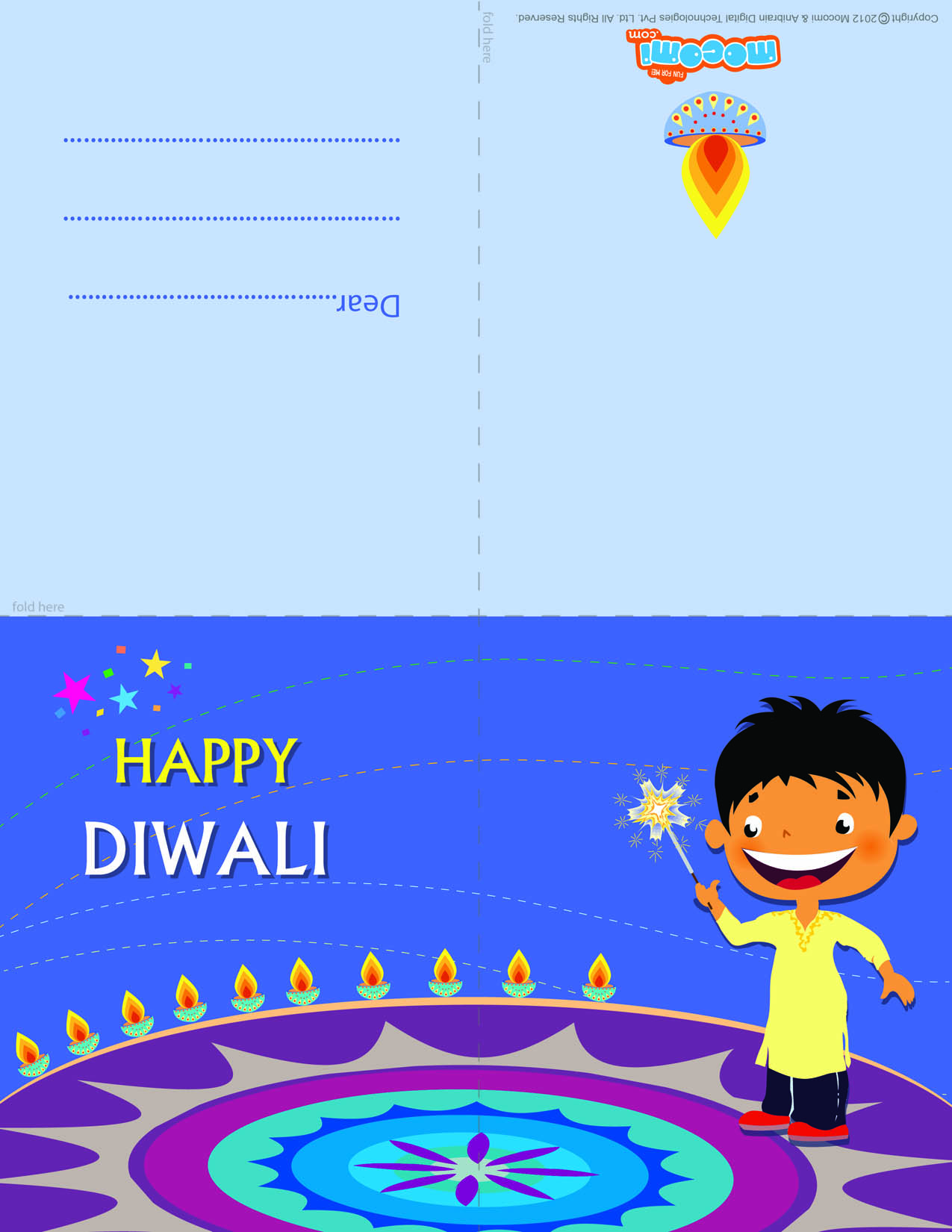 Diwali Rangoli (Printable Card for Kids)