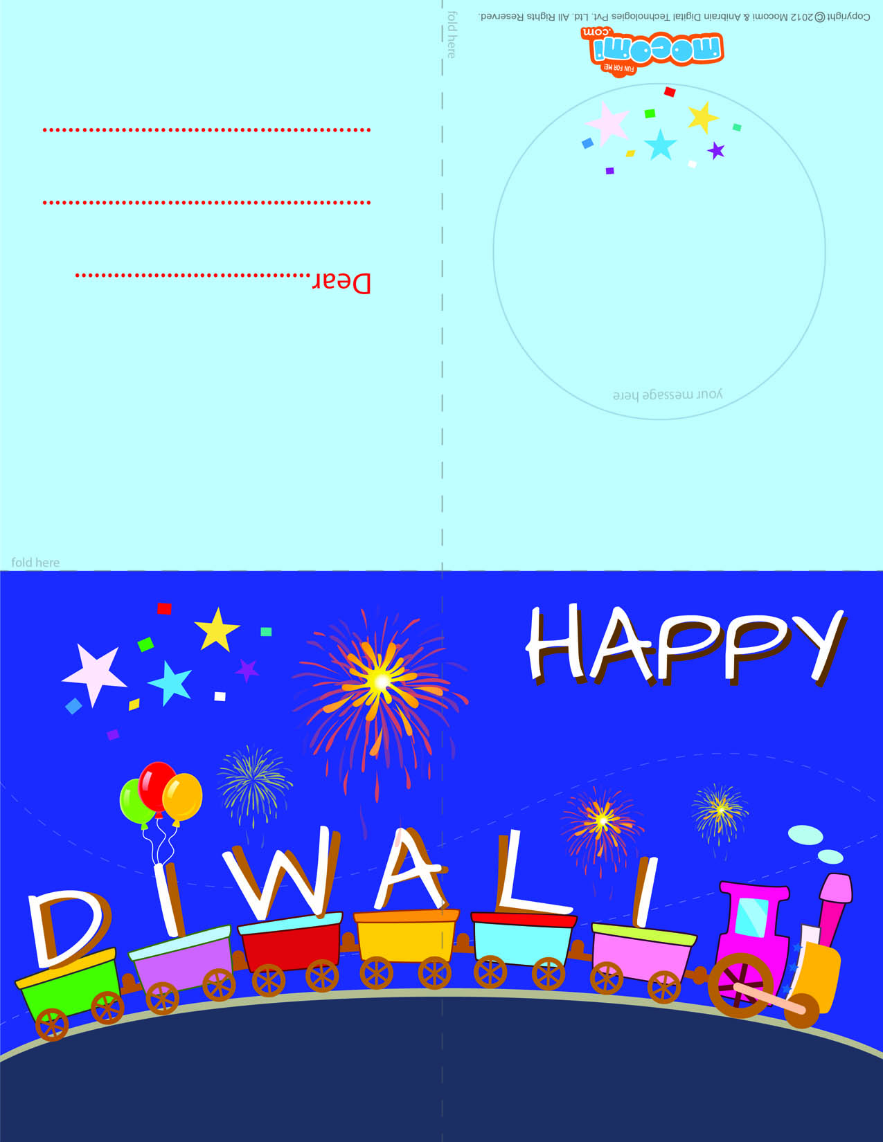Diwali Greetings – Toy Train (Printable Card for Kids)