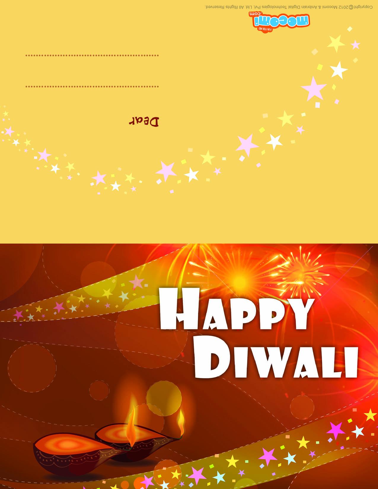 Diwali diyas (Printable Card for Kids)