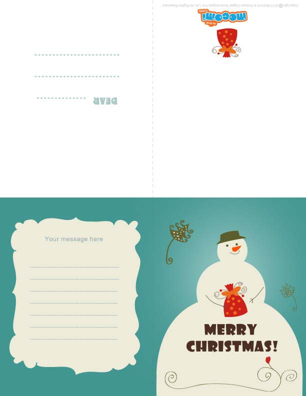 Merry Christmas – Snowman (Printable Card for Kids)