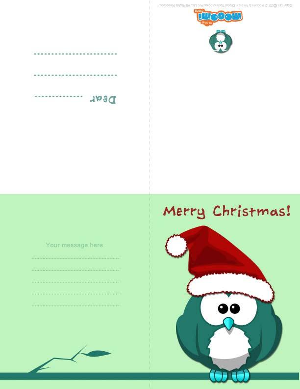 Christmas Owl (Printable Card for Kids)