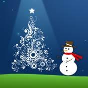 Merry Christmas Snowman and Christmas Tree