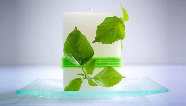 Designer Leaf Candles