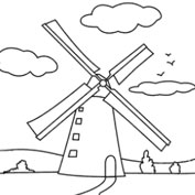 Wind Mill - Colouring Page