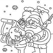 Merry Christmas- Santa Claus and Kids – Colouring Page