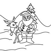 Merry Christmas- Santa and Reindeer - Colouring Page