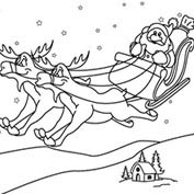 Merry Christmas- Santa's Sleigh - Colouring Page