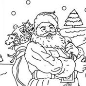 Merry Christmas- Santa Claus and Snowman - Colouring Page