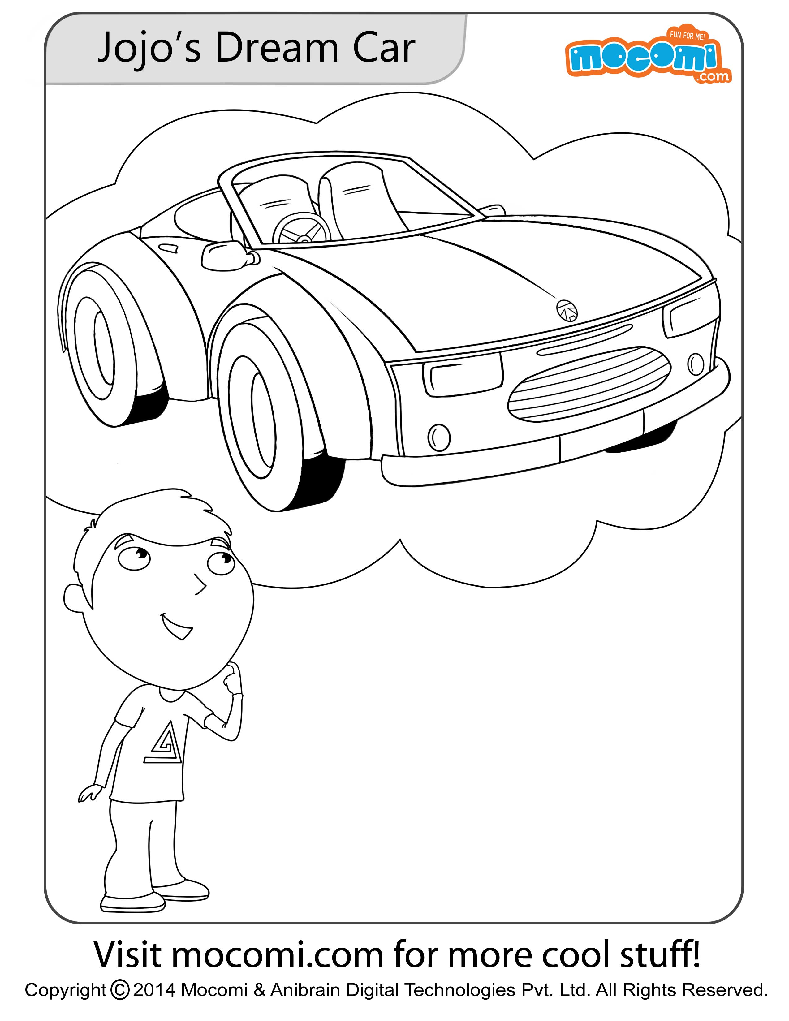 Jojo's Dream Car – Colouring Page