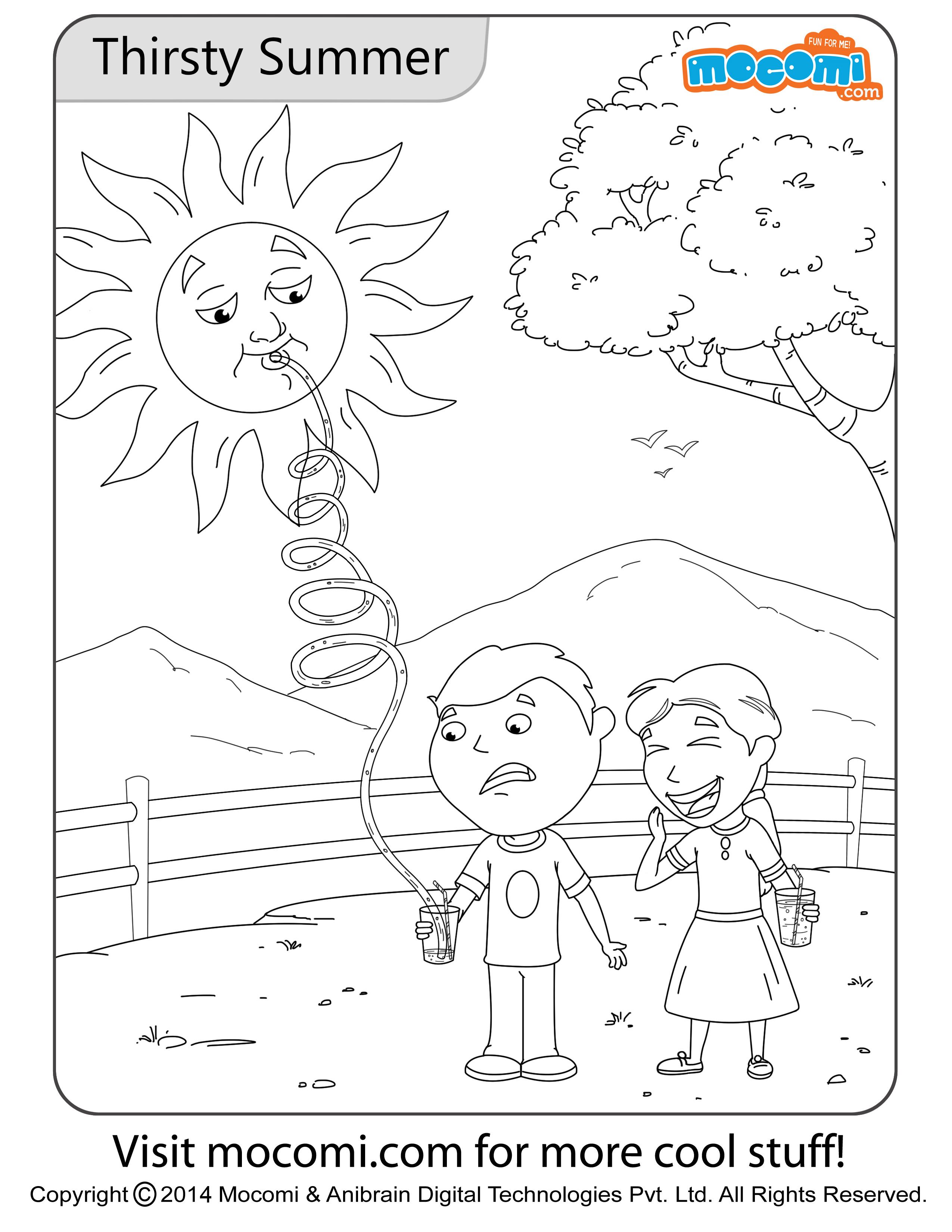 Thirsty Summer Colouring Page - Jojo Colouring Pages for ...