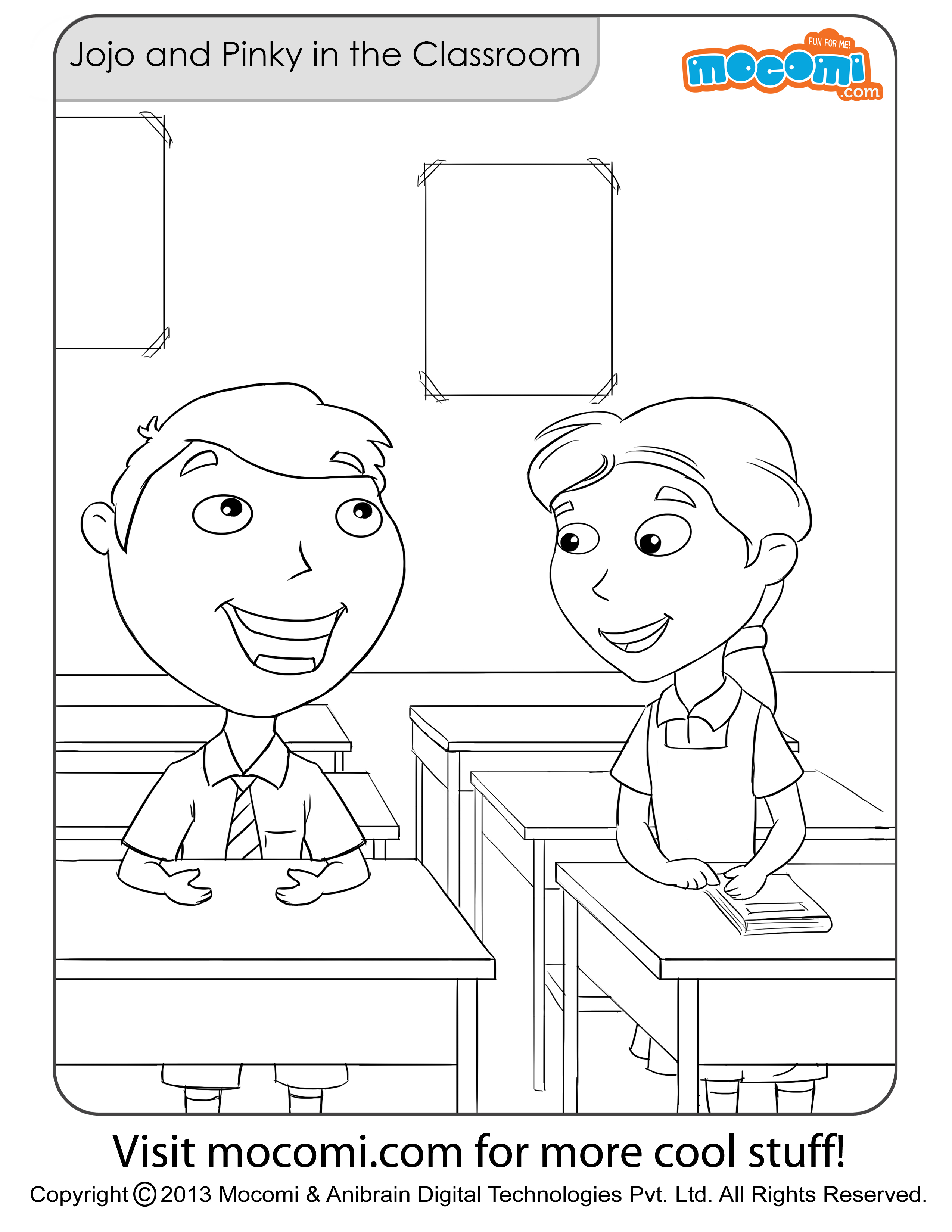 Jojo and Pinky in the Classroom – Colouring Page