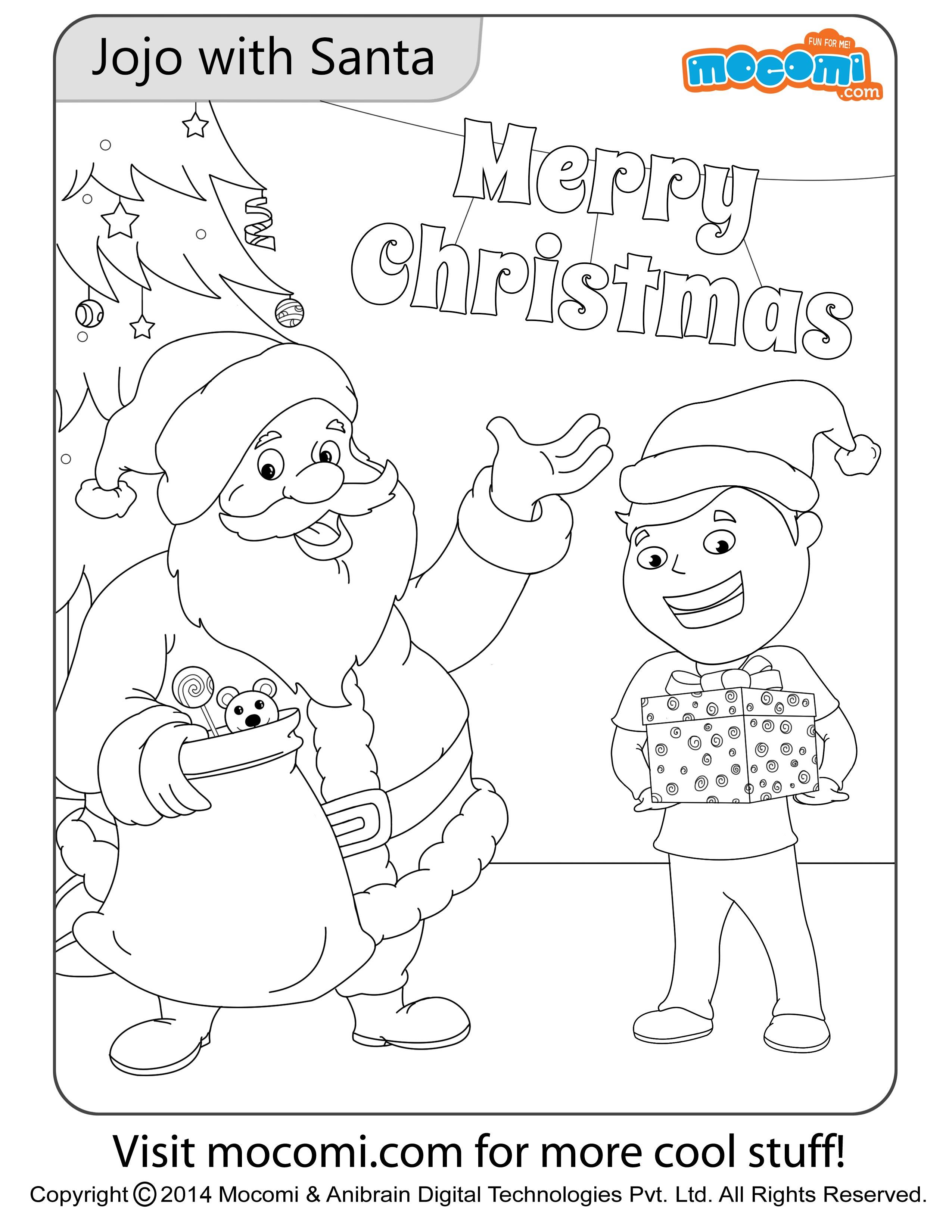 Jojo with Santa – Colouring Page