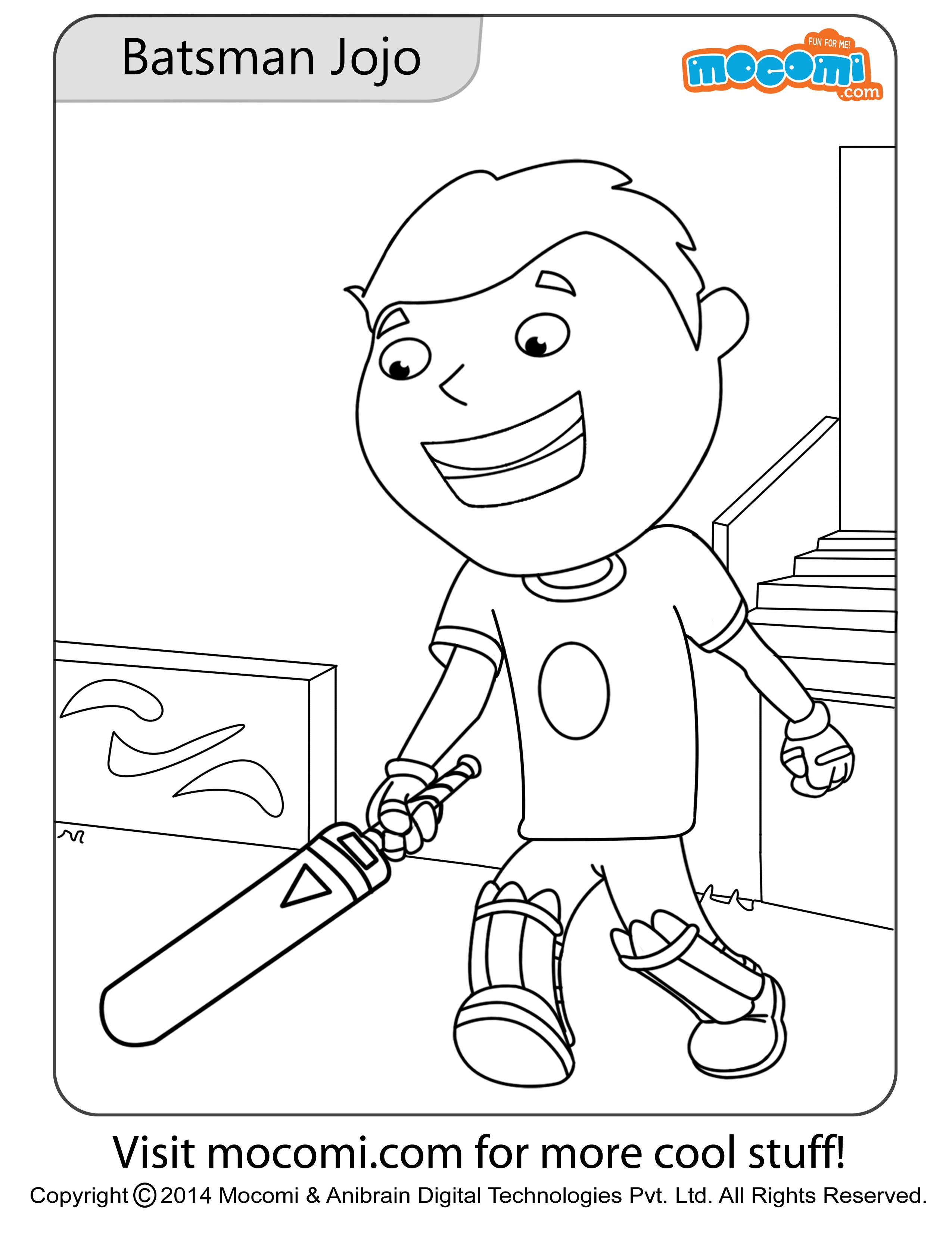 Batsman Jojo – Colouring Page