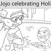Jojo Celebrating Holi - Colouring Page
