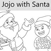 Jojo with Santa - Colouring Page