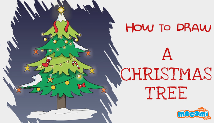 How to draw a Christmas Tree  Drawing for Kids  Mocomi