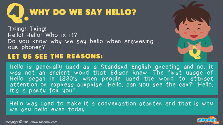 Why do we say Hello?