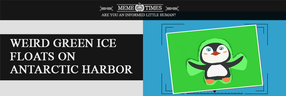 Weird Green ice floats on Antarctic Harbor – Slider