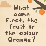 What came first, the fruit or the colour Orange?